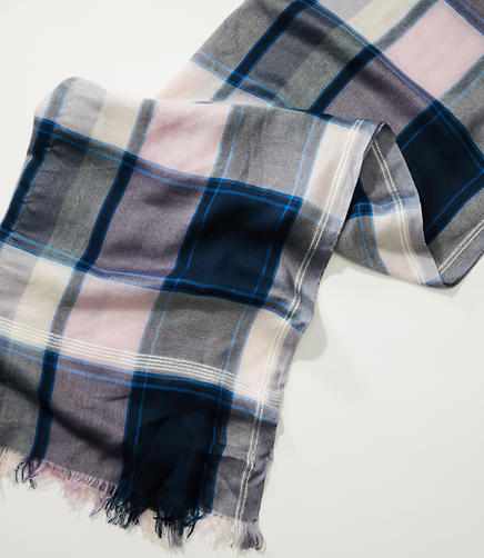 Image of Frayed Plaid Scarf