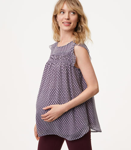Image of Maternity Diamond Smocked Flutter Top