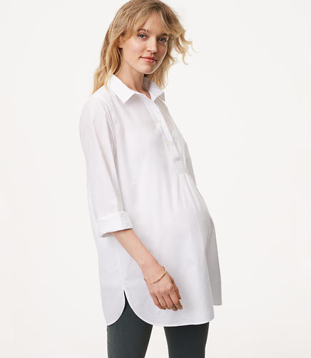 Maternity Henley Tunic Softened Shirt