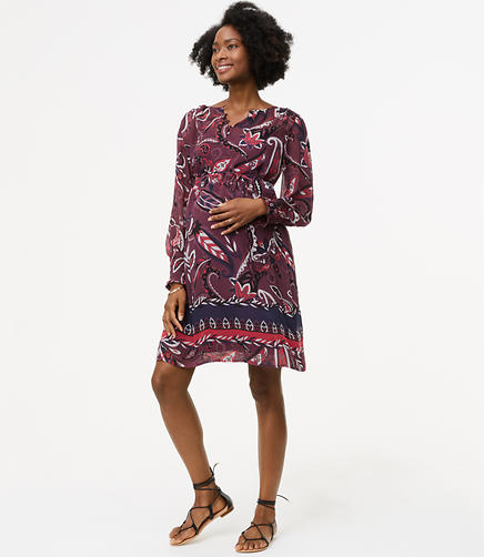 Maternity Paisley Pop Smocked Cuff Dress