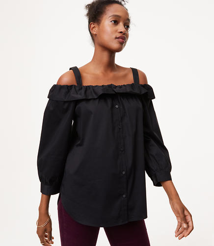 Image of Petite Off The Shoulder Button Down Shirt