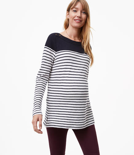 Maternity Striped Colorblock Shoulder Button Tee