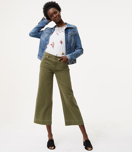Modern Unpicked Wide Leg Crop Jeans in Aged Moss