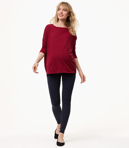 Maternity Heathered Seamed Ponte Leggings