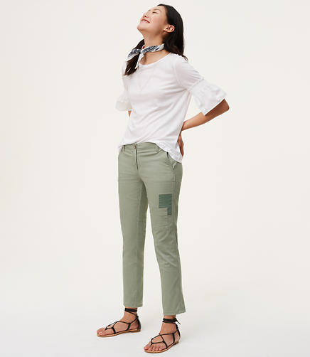 Image of Patchwork Cropped Skinny Chinos