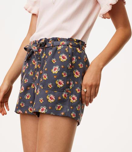 Peony Tie Waist Shorts