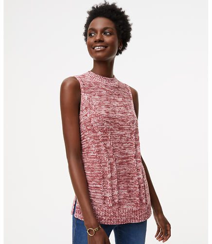 Petite Mixed Ribbed Sleeveless Sweater