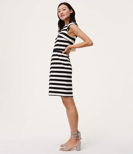 Image of Petite Striped Cap Sleeve Sheath Dress