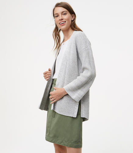 Image of Petite Ribbed Swing Open Cardigan