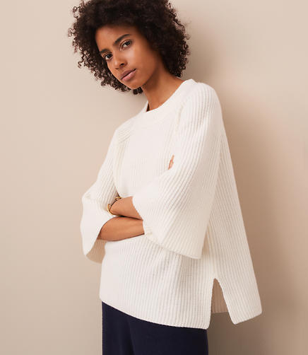 Lou & Grey Cashmere Flare Sleeve Sweater