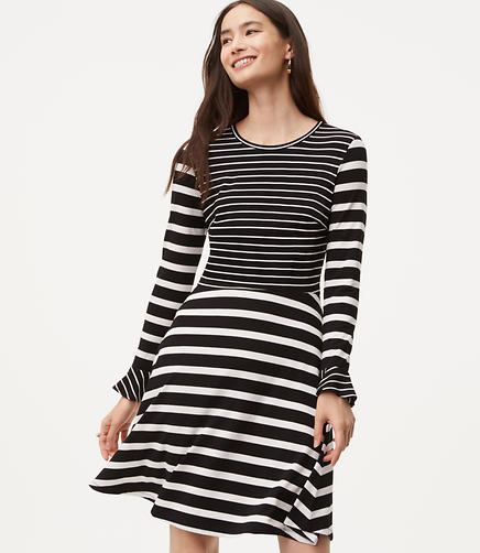 Petite Striped Flare Dress