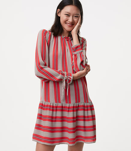 Petite Spiced Stripe Flounce Shirtdress