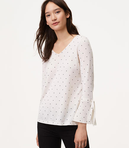Image of Petite Dot Tied Bell Cuff Sweater