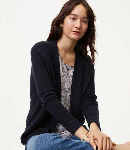 Image of Petite Shirttail Open Cardigan