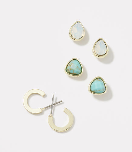Image of Hoop and Stone Stud Earring Set