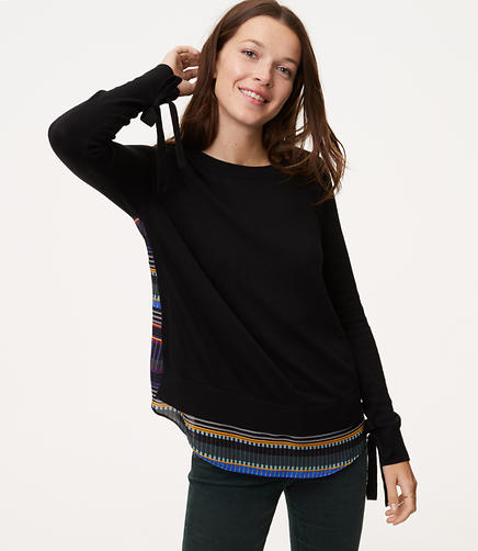 Image of Petite Festival Tie Cuff Mixed Media Sweater