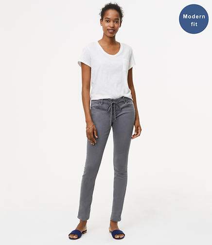 Image of Petite Modern Lace Up Skinny Jeans in Grey Asphalt