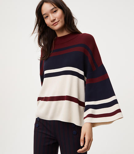 Petite Striped Drop Shoulder Sweater