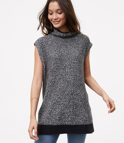 Image of Petite Sleeveless Marled Tunic Sweater
