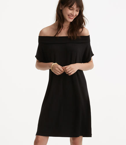 Image of Petite Lou & Grey Ribbed Signaturesoft Off The Shoulder Dress