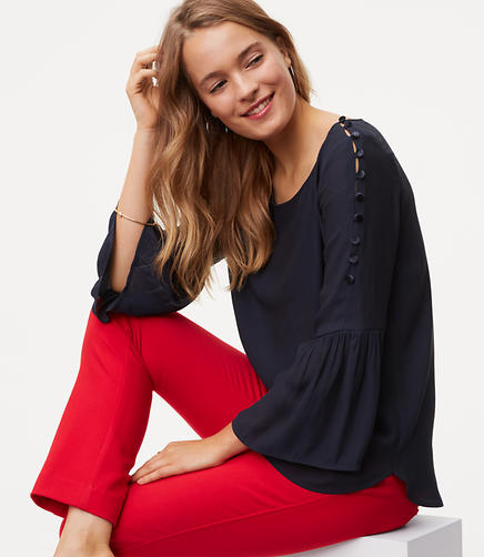 Image of Shoulder Button Bell Sleeve Top