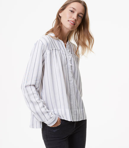 Striped Henley Swing Shirt