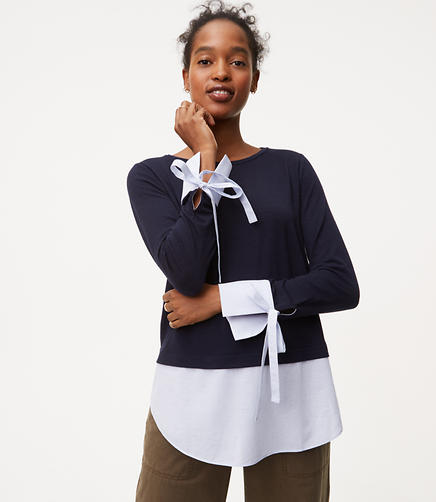Image of Petite Tie Cuff Two In One Top