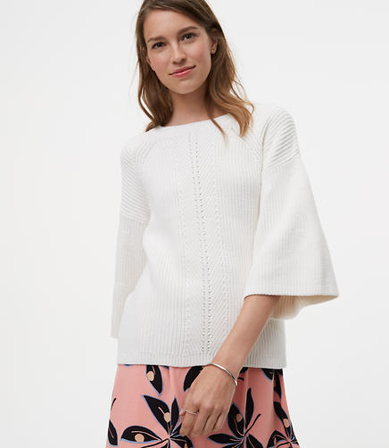 Petite Mixed Ribbed Bell Sleeve Sweater