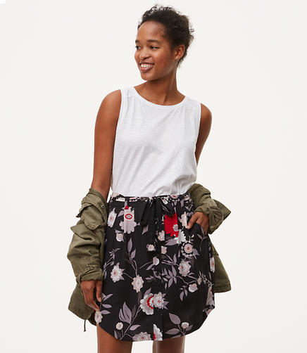 Image of Petite Botanical Tie Waist Button Skirt