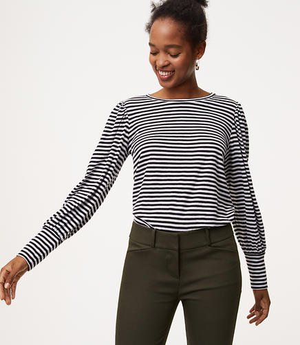 Striped Blouson Sleeve Tee