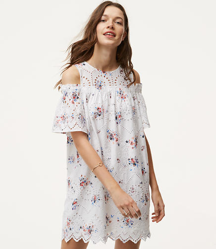 Image of Floral Eyelet Cold Shoulder Dress