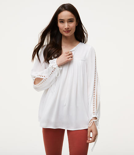 Image of Eyelet Split Sleeve Blouse