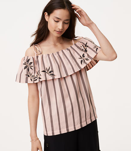 Petite Orchid Stripe Off The Shoulder Top