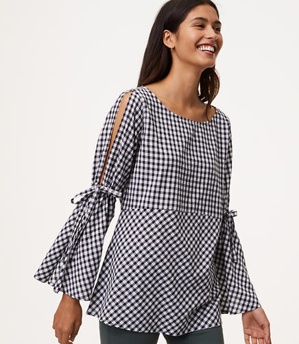 Gingham Tie Split Bell Sleeve Top