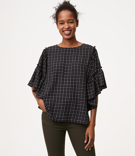 Plaid Cascade Sleeve Blouse