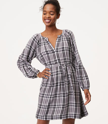 Image of Plaid Smocked Sleeve Shirtdress