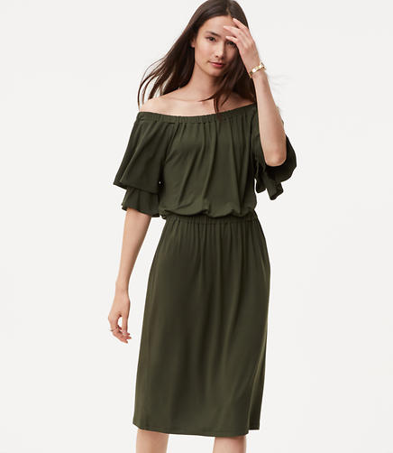 Image of Off The Shoulder Blouson Dress