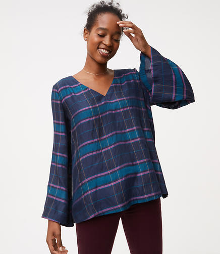 Plaid Bar Back Bell Sleeve Top