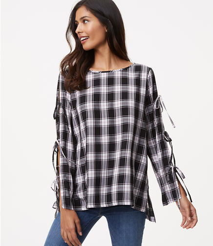 Plaid Tie Sleeve Tunic