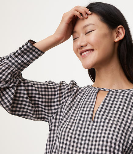 Image of Gingham Choker Blouse