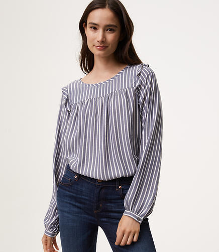 Striped Ruffle Trim Blouse