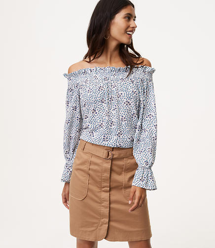 Petite Diamond Floral Off The Shoulder Blouse