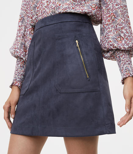 Faux Suede Zip Pocket Skirt