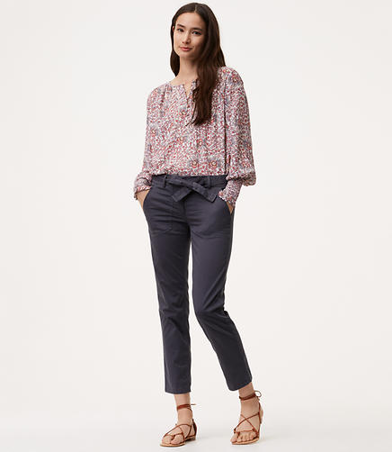 Petite Relaxed Tie Waist Utility Pants