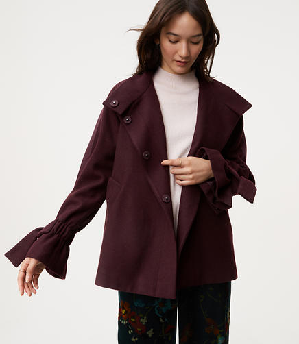 Image of Petite Tie Cuff Cape Coat