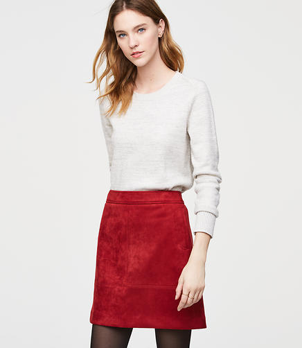 Faux Suede Pocket Shift Skirt