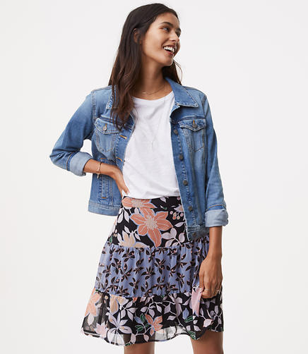 Image of Petite Wild Orchid Flounce Skirt
