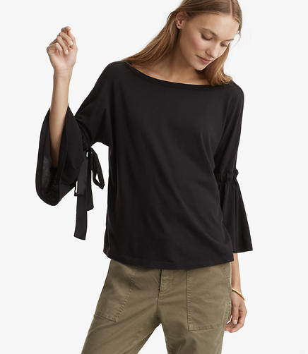 Lou & Grey Softserve Cotton Tie Bell Sleeve Top