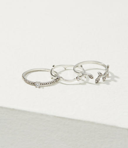 Pave Leaf Stackable Ring Set