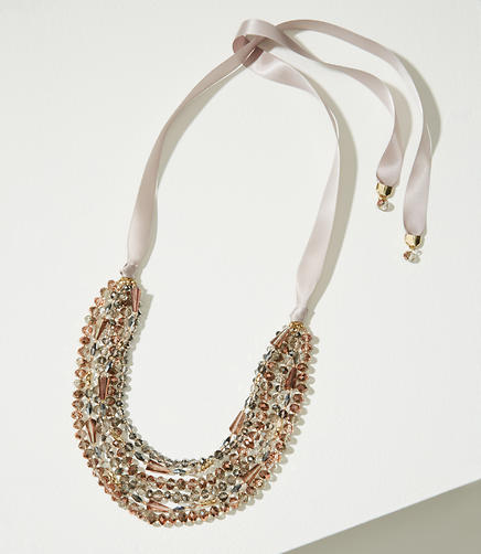 Ribbon Multistrand Beaded Necklace